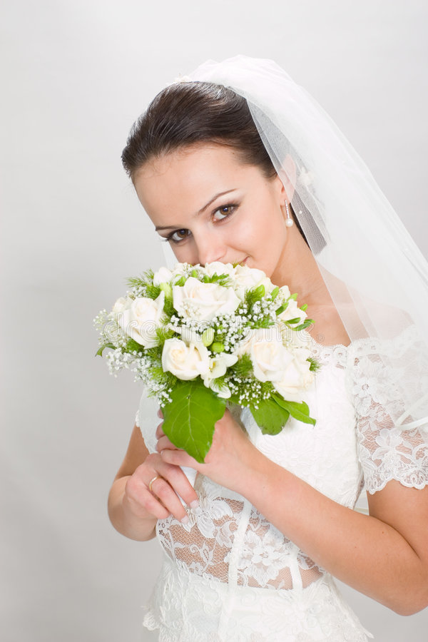 Download Pretty bride. stock image. Image of flowers, nice, beautiful - 1617005