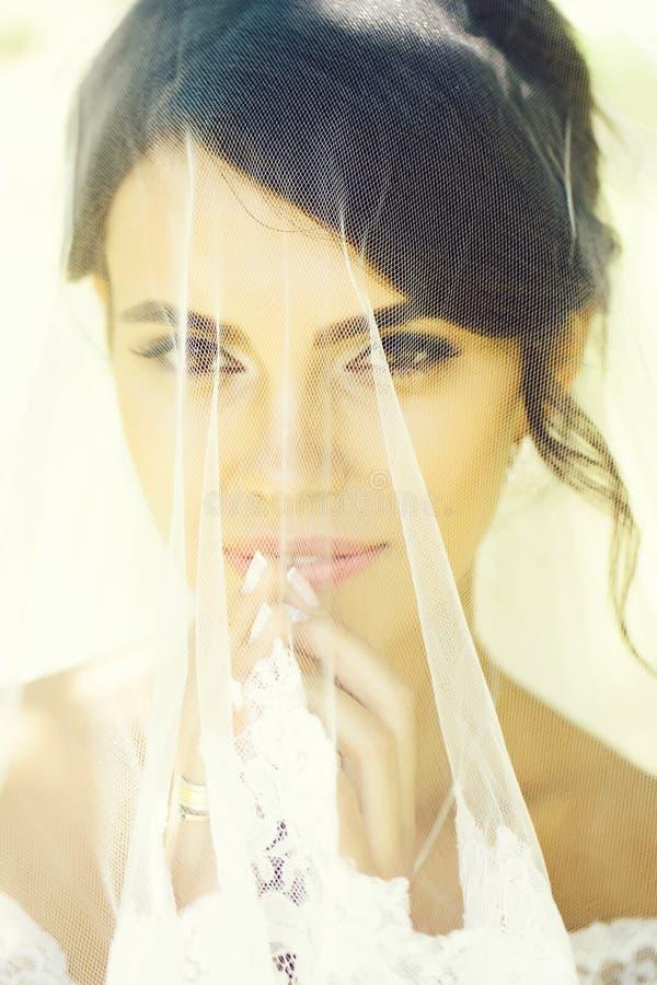 Pretty bride under veil stock photo