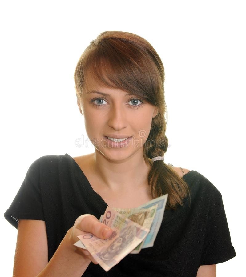 Pretty brunette. With money on white background stock photos