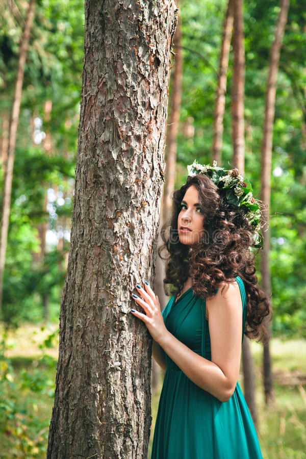 Pretty brunette in the forest royalty free stock photo