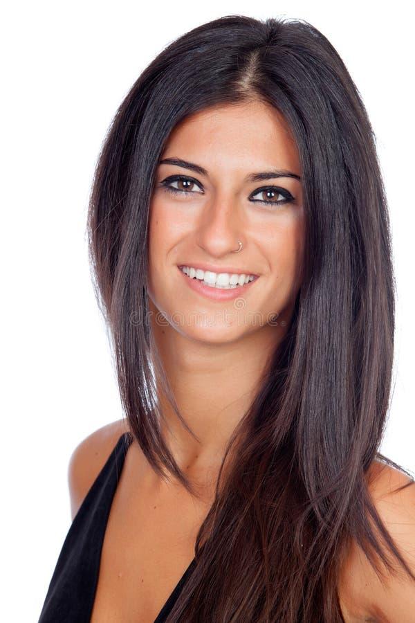 Pretty brunette girl dressed in black stock photo