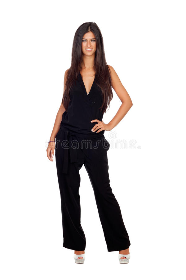 Pretty brunette girl dressed in black royalty free stock images