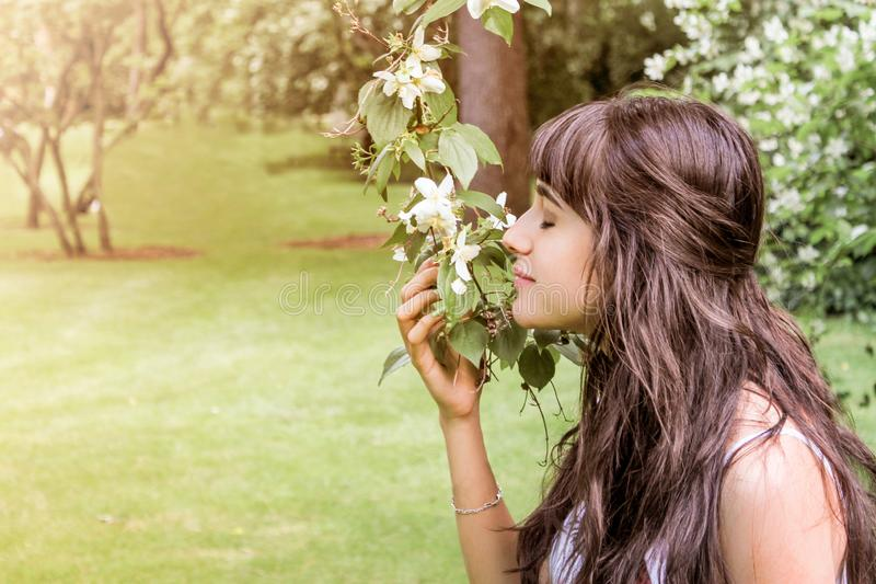 Pretty brunette girl with long hair smelling a flower stock image