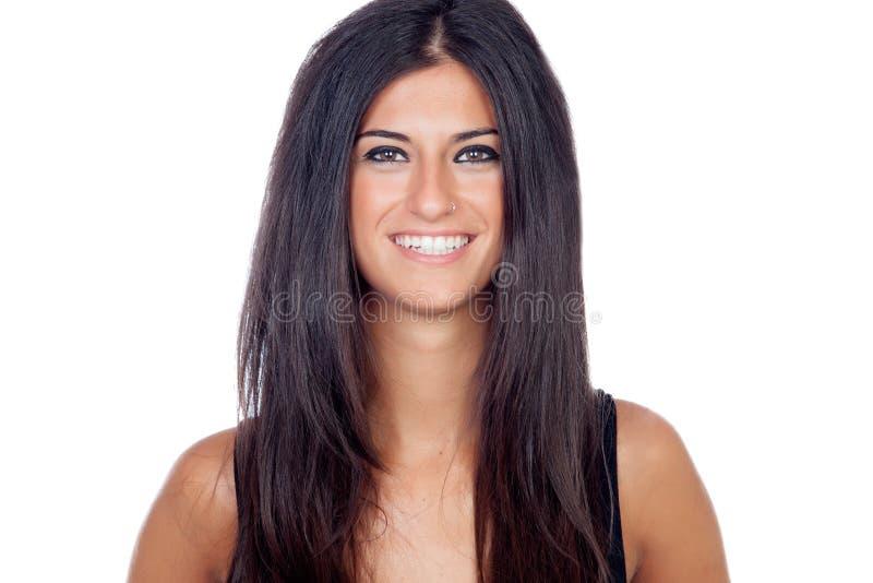 Pretty brunette girl smiling stock photo
