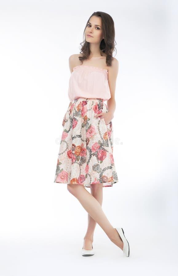 Download Pretty Brunette Girl Stylish Fasion Model In Dress Stock Image - Image: 24942937