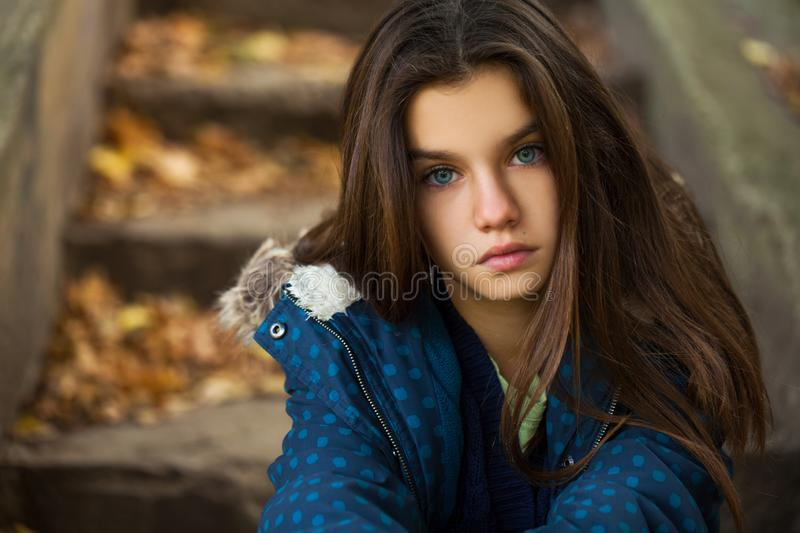 Pretty brunette little girl posing in autumn park background royalty free stock images