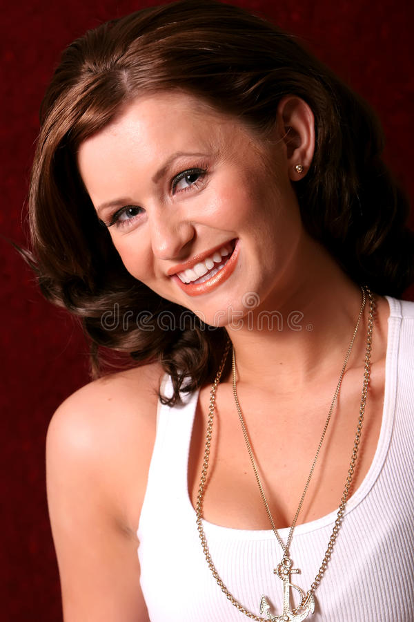 Pretty brunette woman royalty free stock photo