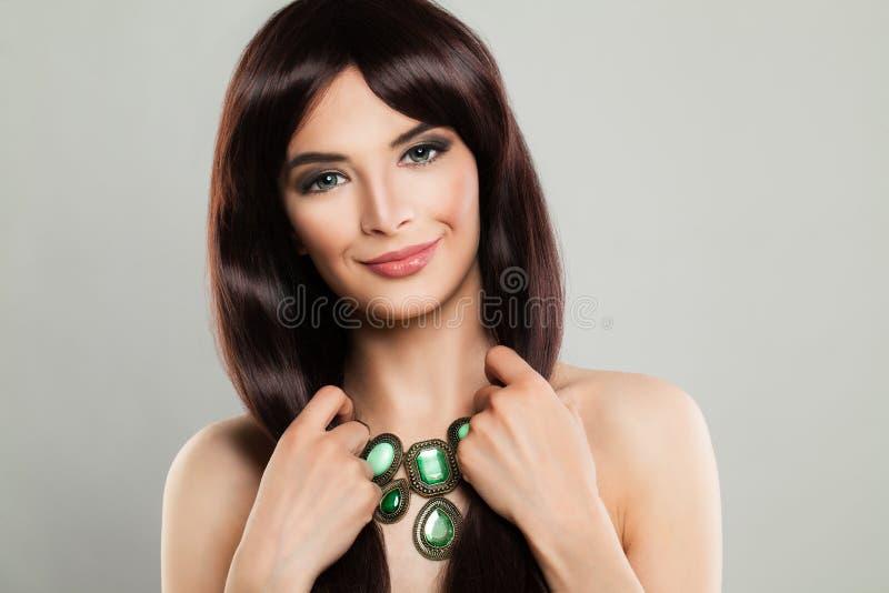 Pretty Brunette Woman Fashion Model royalty free stock photography