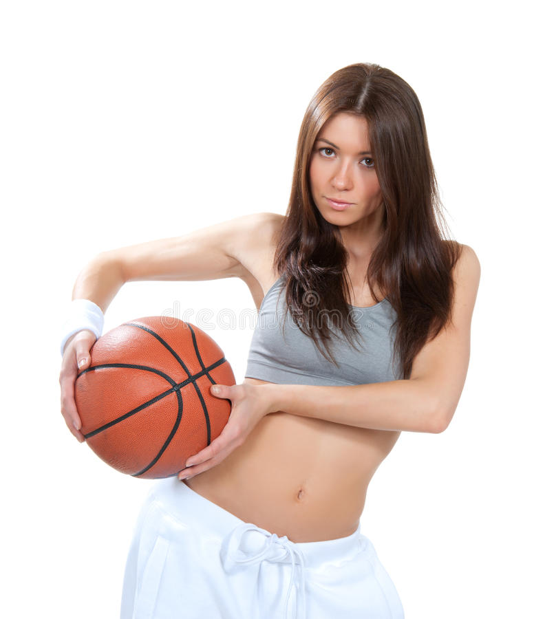 Download Pretty Brunette Woman Holding Basketball In Hand Stock Image - Image: 28875001