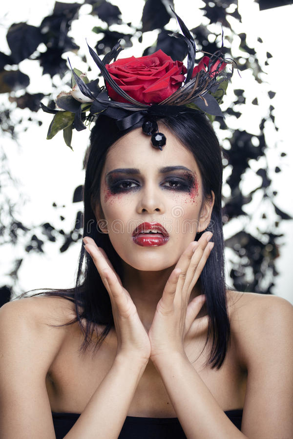 Download Pretty Brunette Woman With Rose Jewelry, Black And Red, Bright Make Up A Vampire Stock Image - Image: 33266357