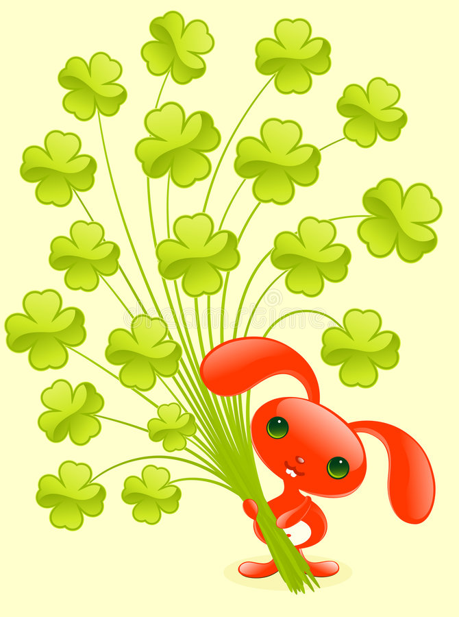 Pretty bunny with shamrock. stock photo