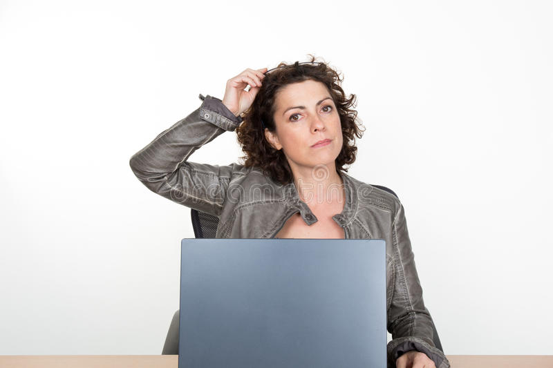 Pretty business secretary woman working in office isolated over white background royalty free stock images
