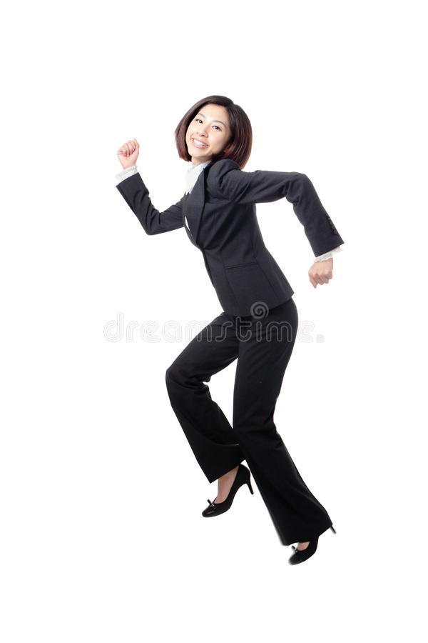 Pretty business woman happy running and jump
