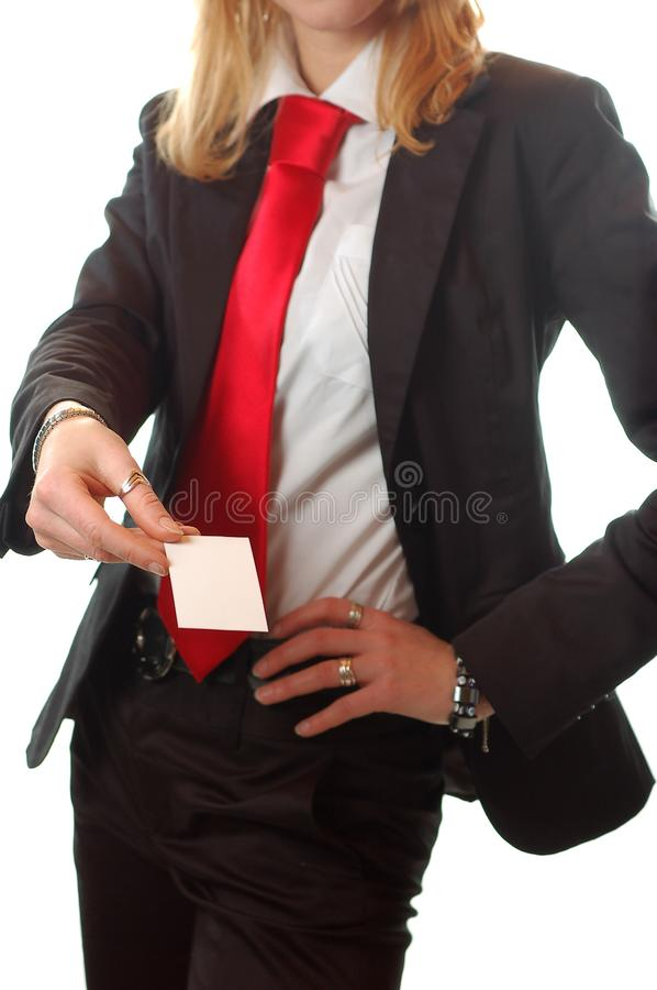 Pretty business woman holding a business card stock images