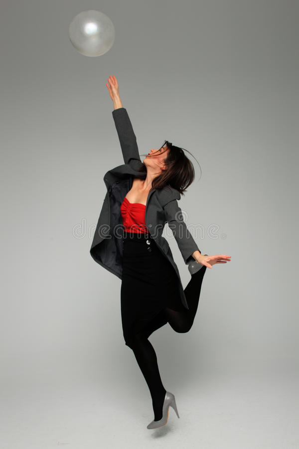 Download Pretty Business Woman. Over Grey Background Stock Photo - Image: 22314342