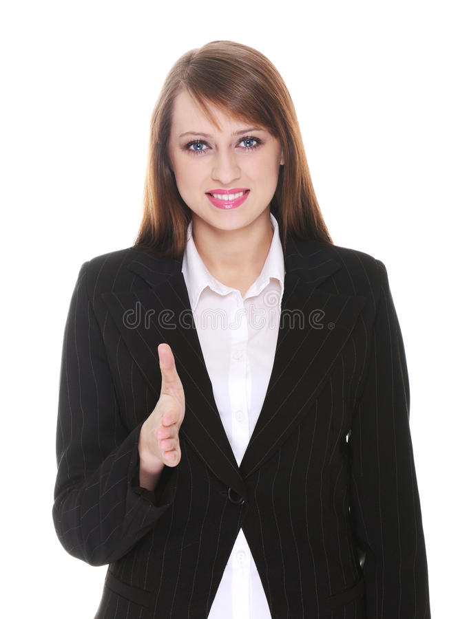 Pretty businesswoman. Posing over white background stock photo