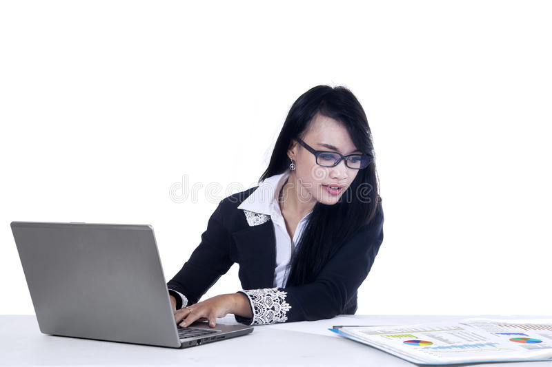 Pretty businesswoman working royalty free stock image