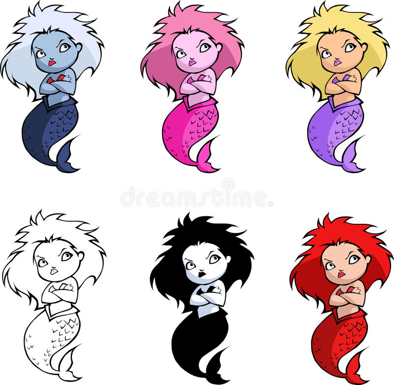 Free Pretty Cartoon Mermaid Royalty Free Stock Images - 62574359