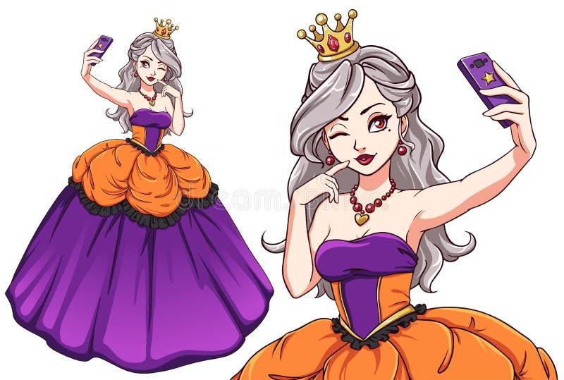Pretty cartoon princess taking selfie. Blondie girl wearing purple royal dress and golden crown stock illustration