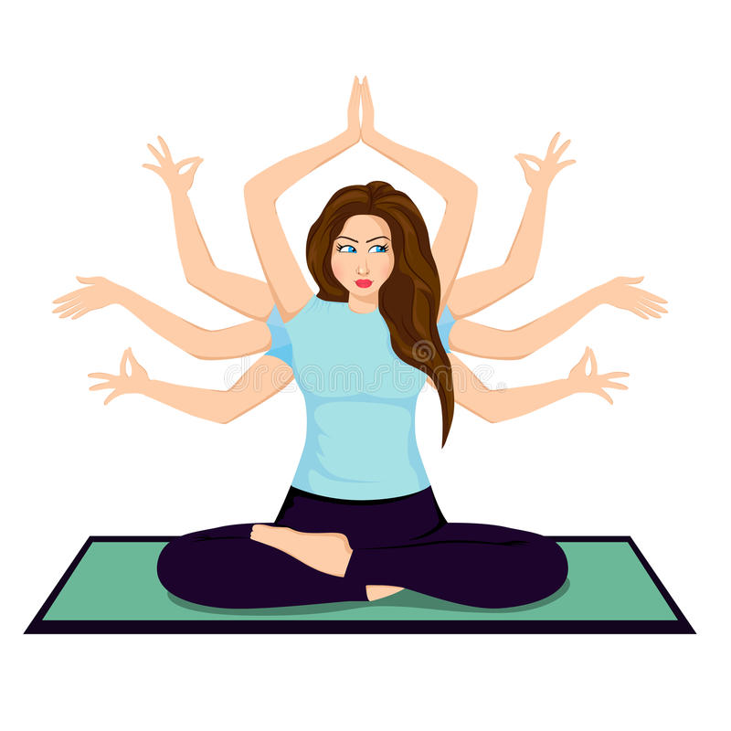 Pretty cartoon woman in the yoga pose stock photography