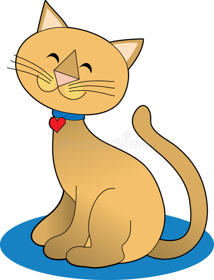 Pretty Cat. Marmalade Cat Sitting Pretty with Heart royalty free illustration