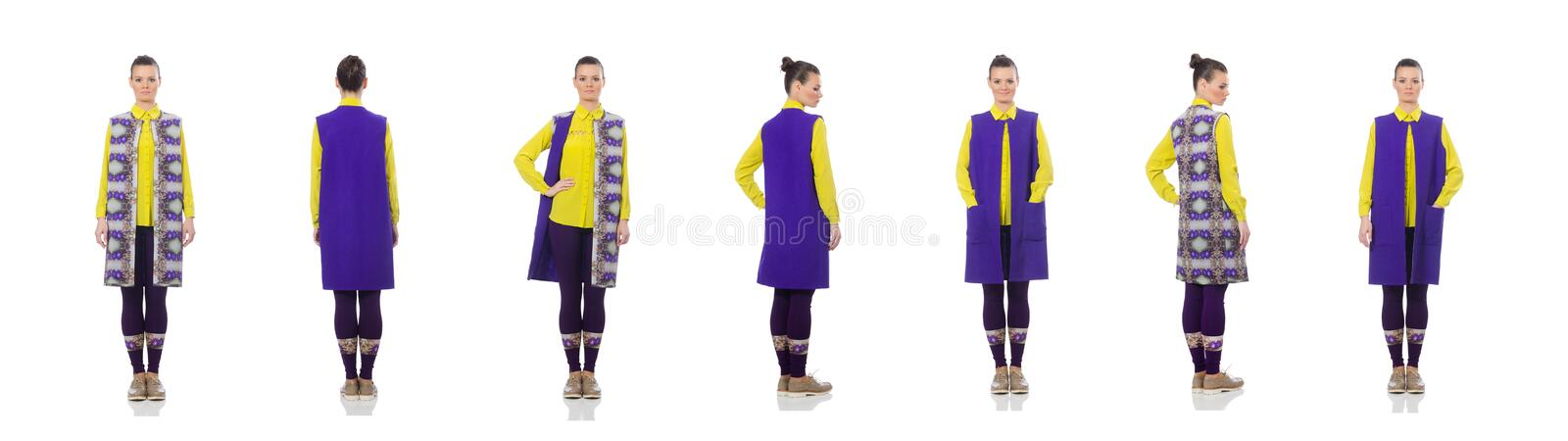 The pretty caucasian model in purple vest isolated on white royalty free stock photos