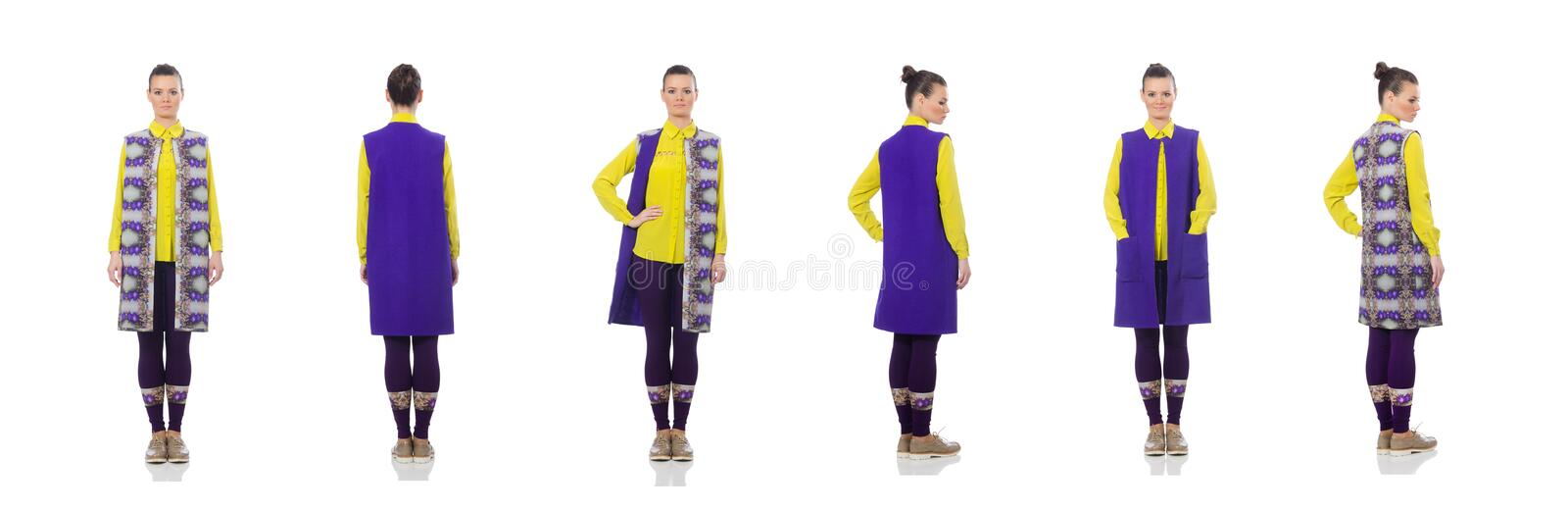 Pretty caucasian model in purple vest isolated on white royalty free stock photo