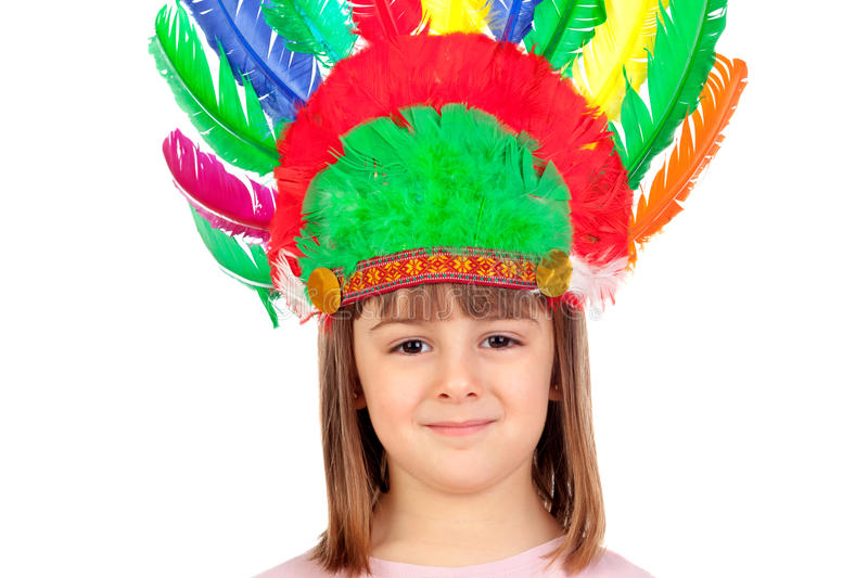 Pretty child with colorful indian feathers royalty free stock photos