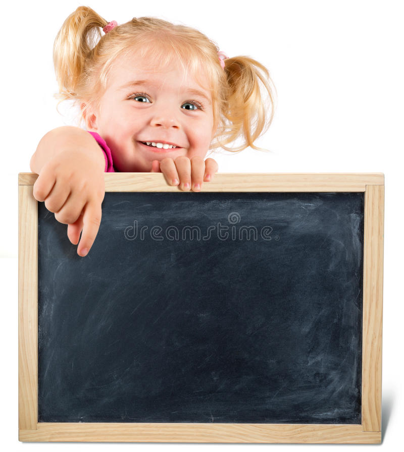 Pretty child holding a blackboard. Isolated on white stock photos