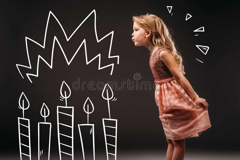 pretty child in pink dress blowing drawn birthday candles vector illustration