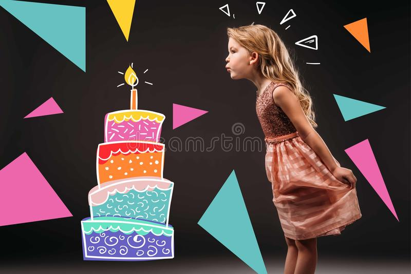 pretty child in pink dress blowing drawn candle on birthday cake, royalty free illustration
