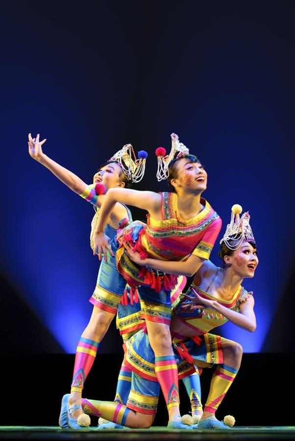 Pretty Chinese Folk Dancers Editorial Stock Photo