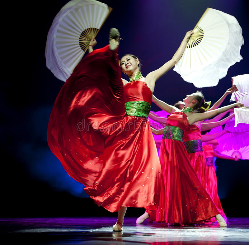 Pretty chinese national dancers stock images