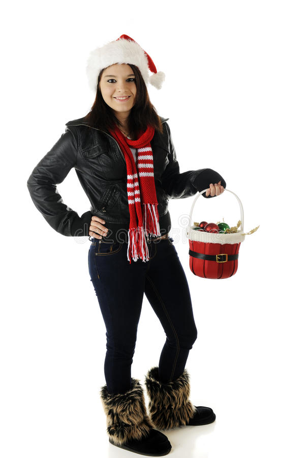 Pretty Christmas Teen Stock Photography