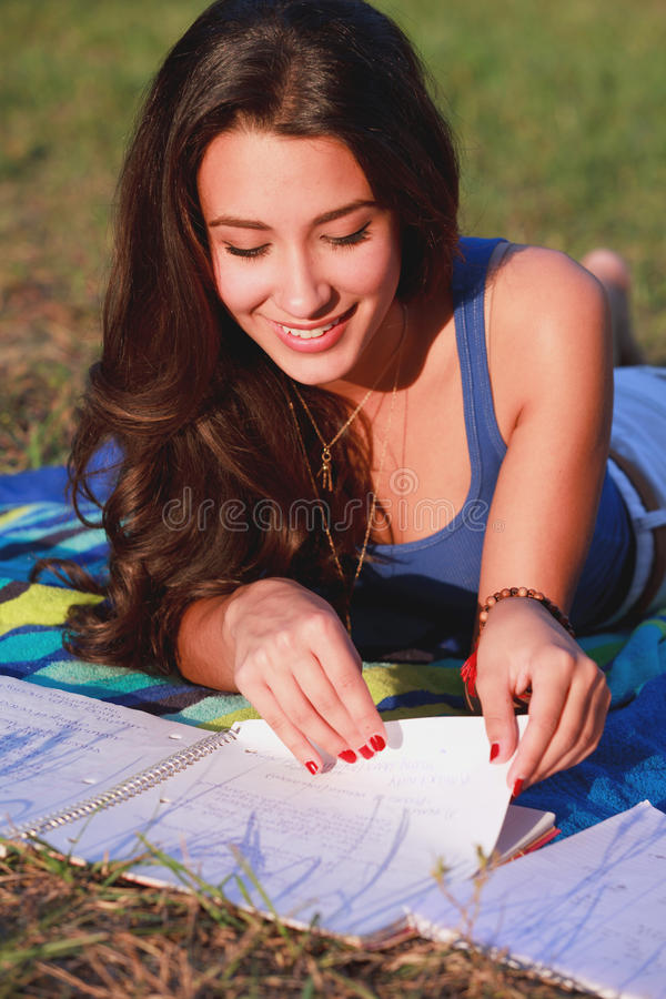 Pretty College Teenager Studying Outdoor royalty free stock photography