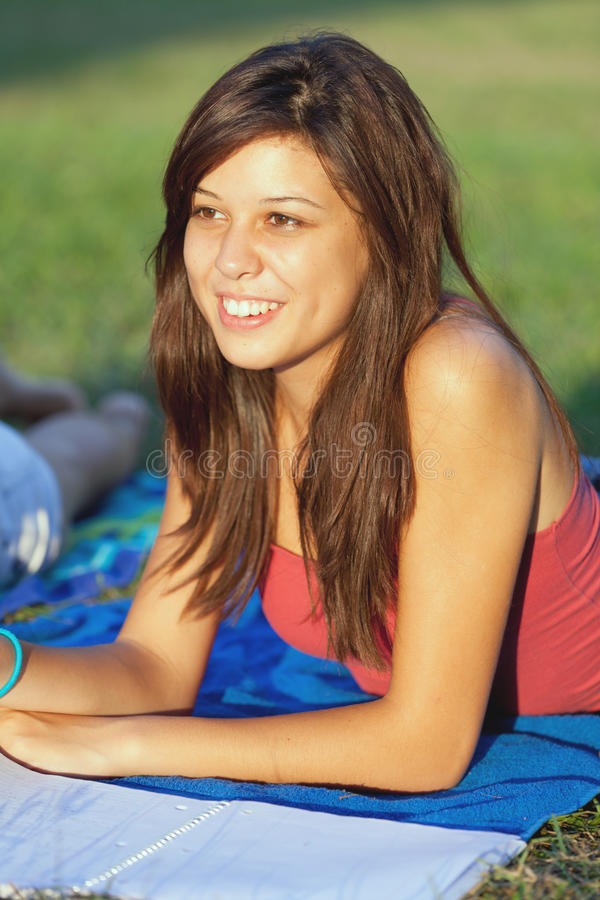 Pretty College Teenager Studying Outdoor royalty free stock photo