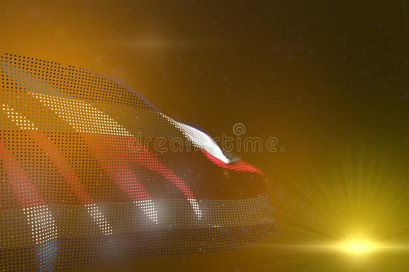 Pretty colorful photo of Costa Rica made of dots waving on yellow - selective focus and place for your text - any celebration flag. Beautiful celebration flag 3d vector illustration