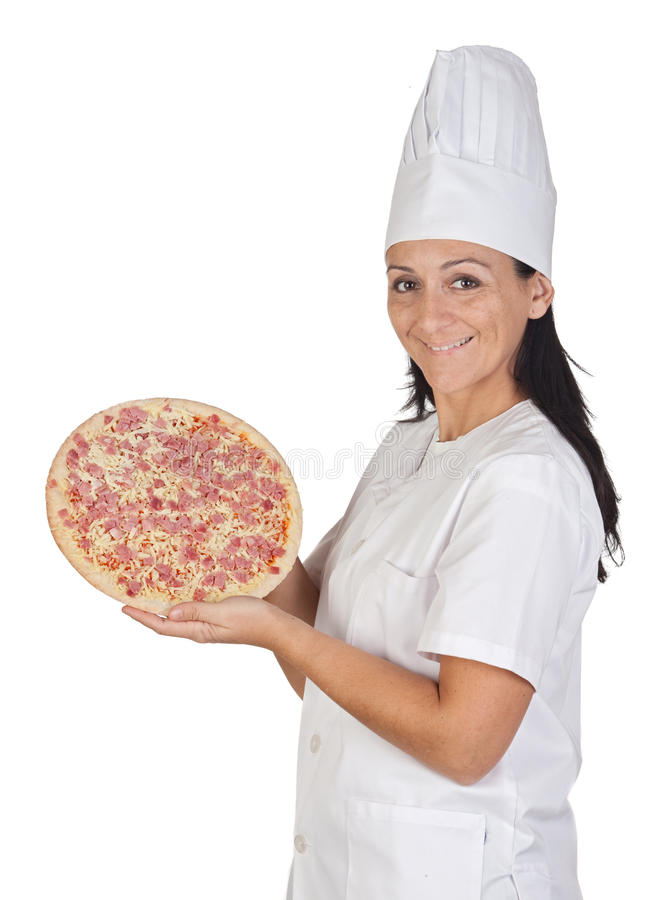 Download Pretty Cook Girl With A Delicious Pizza Stock Image - Image: 11938251