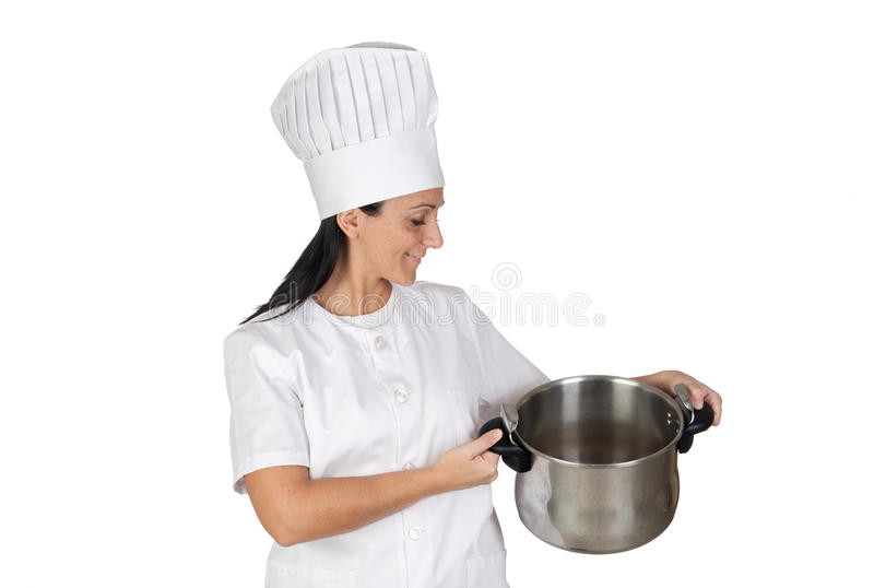 Download Pretty Cook Girl With A Pot Stock Image - Image of kitchen, gourmet: 11937975