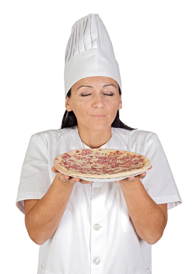 Download Pretty Cook Girl Smelling Delicious Pizza Stock Image - Image: 11938103