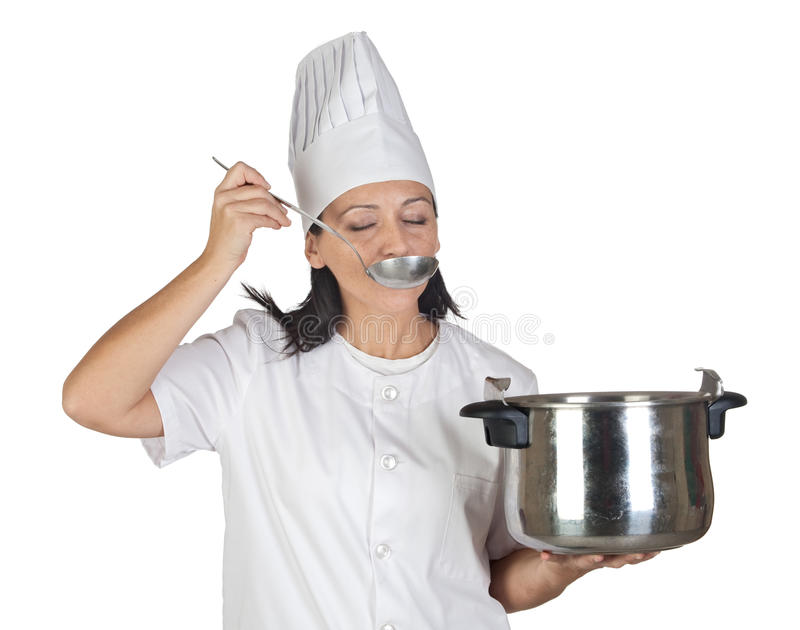 Pretty Cook Girl Testing A Meal Royalty Free Stock Images