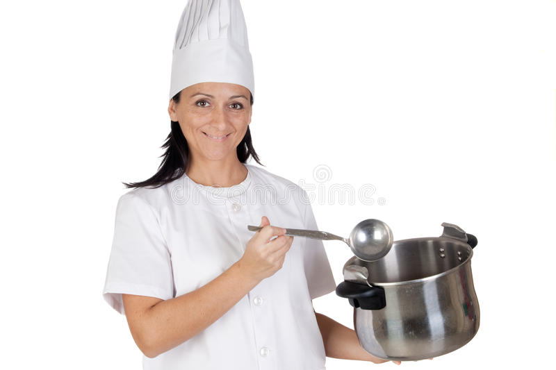 Pretty Cook Girl Thinking With A Pot And Ladle Stock Image