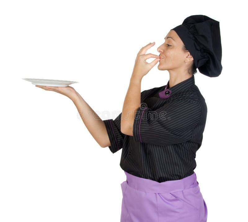 Pretty Cook Woman With Black Uniform Stock Photo
