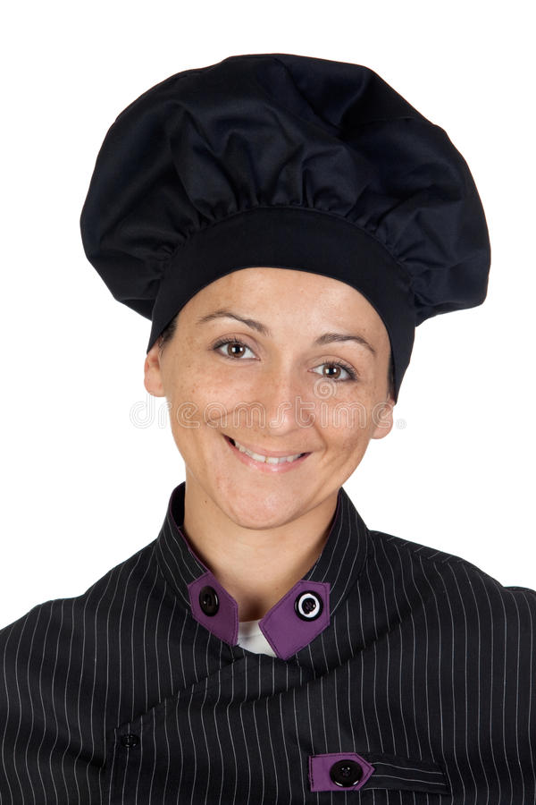 Download Pretty Cook Woman With Black Uniform Stock Photo - Image: 12428358