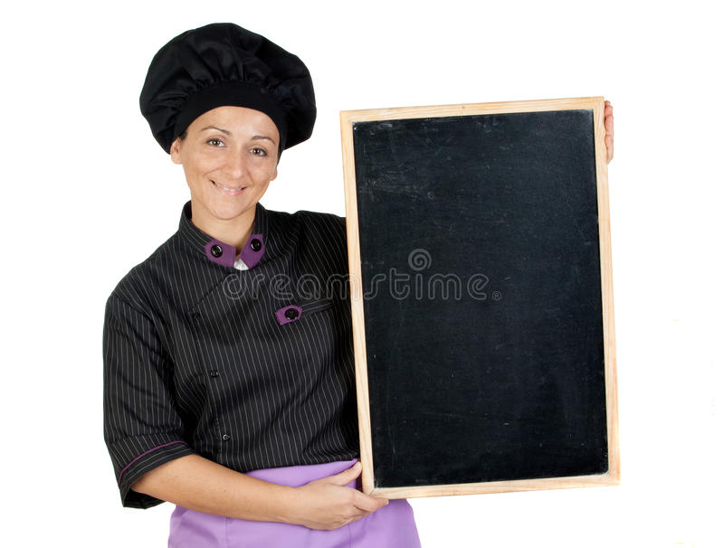 Download Pretty Cook Woman With Blackboard Stock Photo - Image: 12249820