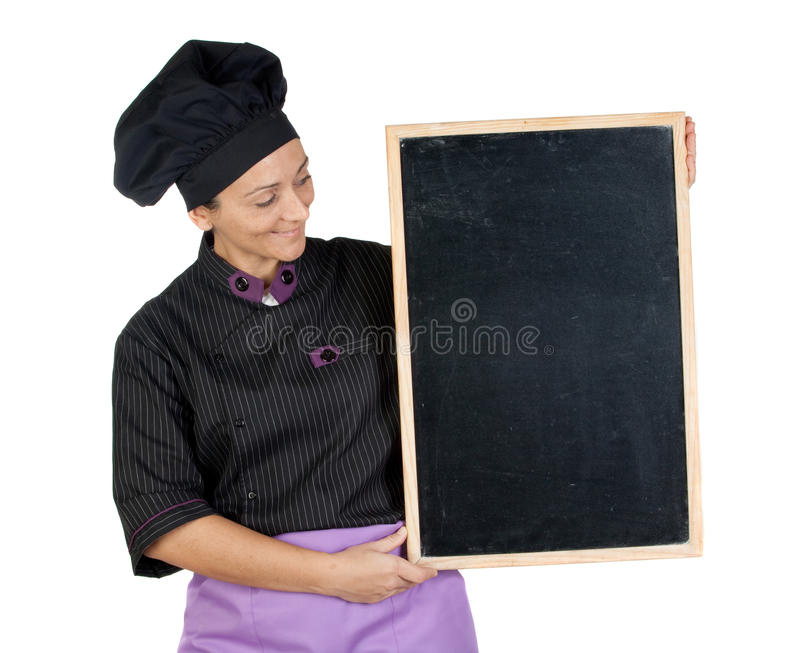 Download Pretty Cook Woman With Blackboard Stock Image - Image: 12249851
