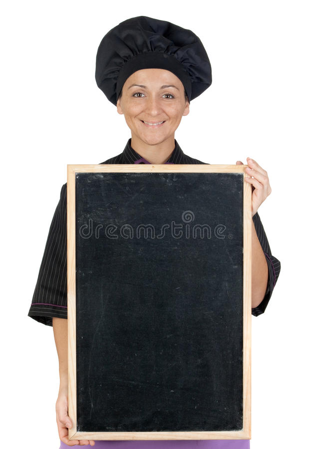 Download Pretty Cook Woman With Blackboard Stock Photography - Image: 12249892