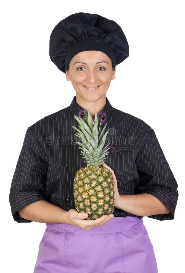 Download Pretty Cook Woman With Pineapple Stock Image - Image: 12249645