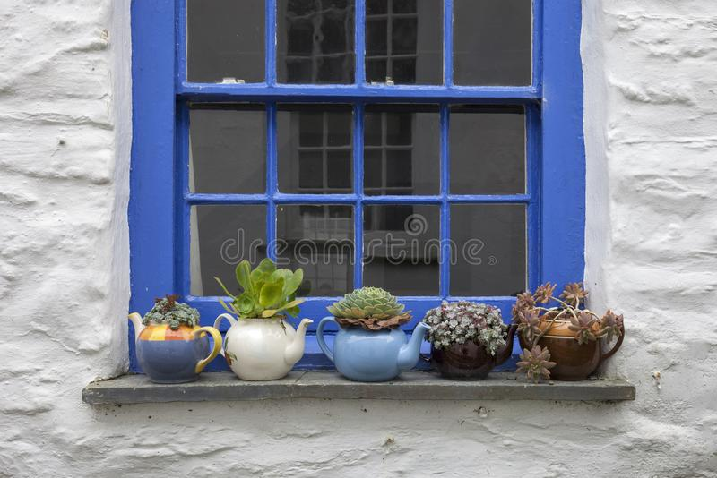 Pretty cottage window with teapots and plants stock photos