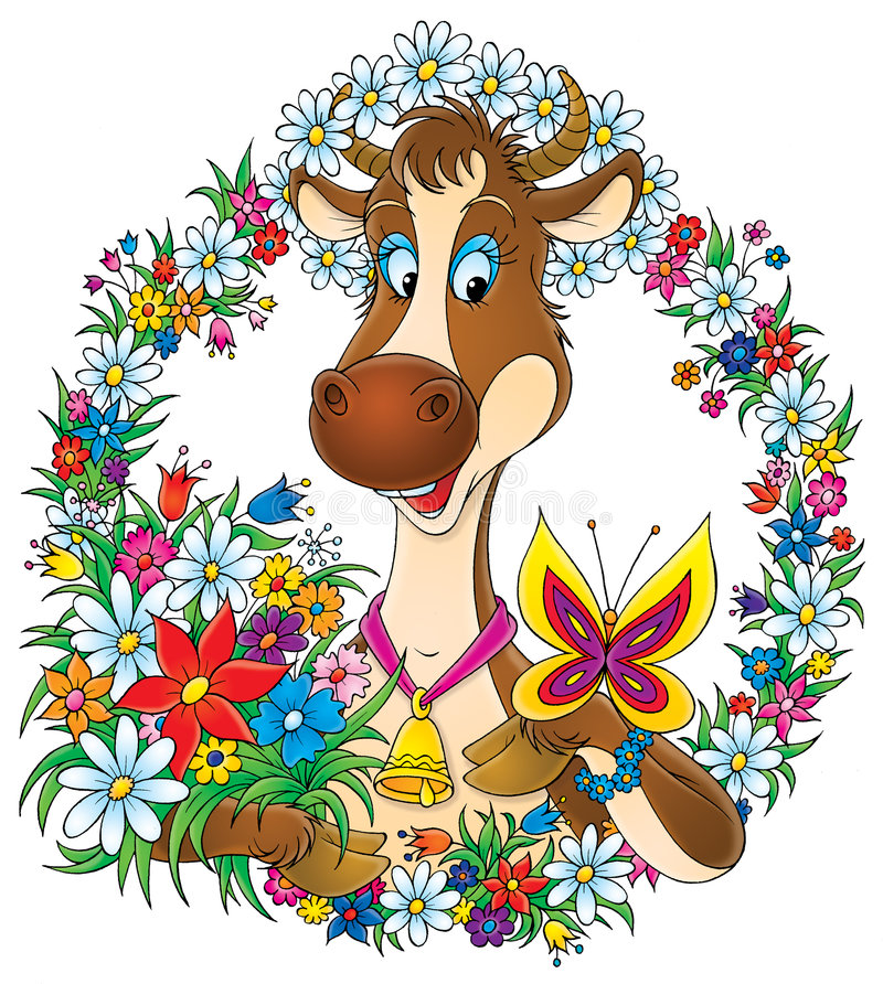 Download Pretty cow stock illustration. Image of hand, children - 3742737
